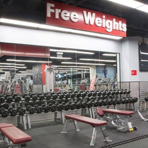 Fitness First Al-Fardan center weight lifting dumbbells and benches (free weights section)