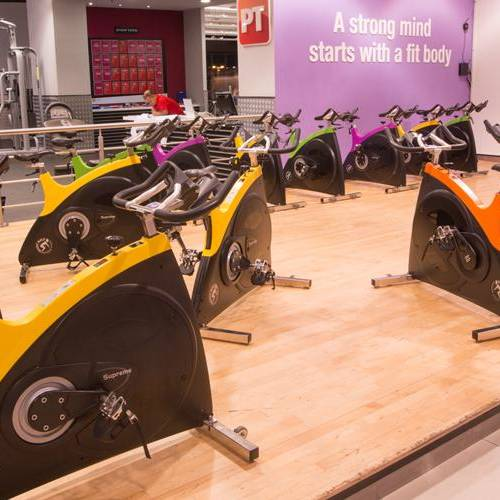 Fitness First Mirdif City Center indoor group spin area